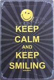 Retro Plechová cedule Keep Calm and Keep Smiling