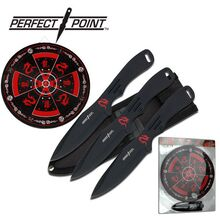 """Perfect Point 8"""" Black 3-Pc. Throwing Knife Set w/ Target Board"""