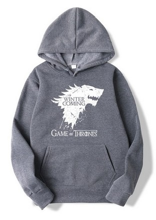 Game of Thrones Mikina White STARK + nápis Game of Thrones s kapucou šedá