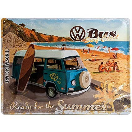 Nostalgic Art Plechová cedule VW Bus Sheet Metal Sign Ready for the Summer