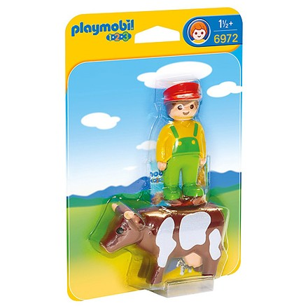 Playmobil Farmář s kravičkou Playmobil 1.2.3, 2 ks