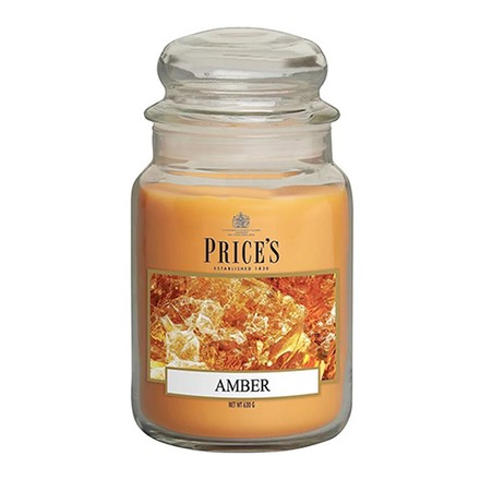 Price\'s Candles Price's Candles Scented candle in LARGE GLASS JAR with glass lid Amber