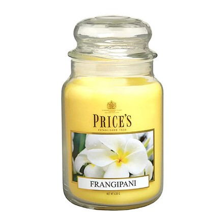 Price\'s Candles Price's Candles Scented candle in LARGE GLASS JAR with glass lid Franghipani