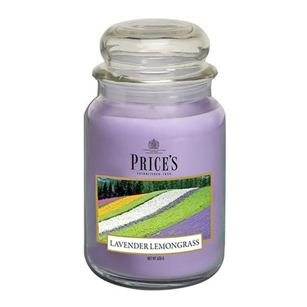 Price\'s Candles Price's Candles Scented candle in LARGE GLASS JAR with glass lid Lavender & Lemongrass