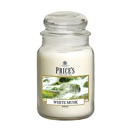 Price\'s Candles Price's Candles Scented candle in LARGE GLASS JAR with glass lid White Musk