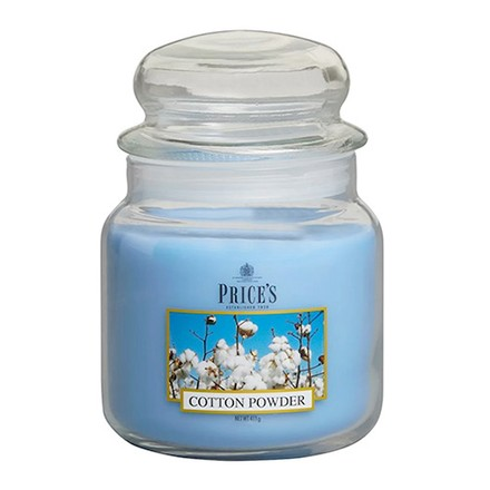 Price\'s Candles Price's Candles Scented candle in MEDIUM GLASS JAR with glass lid Cotton Powder