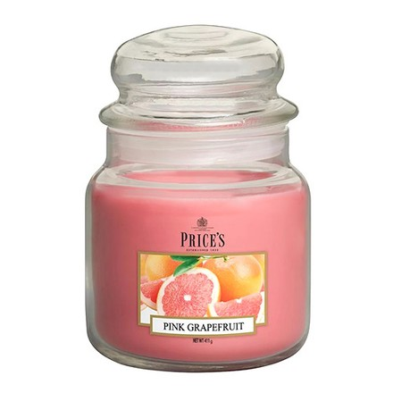 Price\'s Candles Price's Candles Scented candle in MEDIUM GLASS JAR with glass lid Pink Grapefruit