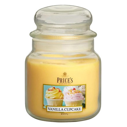 Price\'s Candles Price's Candles Scented candle in MEDIUM GLASS JAR with glass lid Vanilla Cupcake