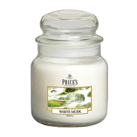 Price\'s Candles Price's Candles Scented candle in MEDIUM GLASS JAR with glass lid White Musk