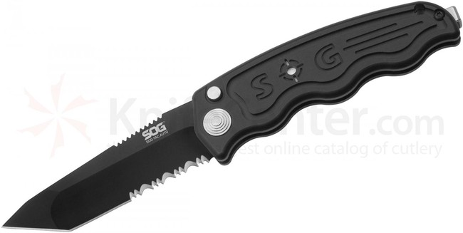 SOG Nůž Sog-TAC Automatic -Partially Serrated, Tanto, Black TiNi