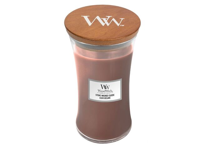 WoodWick sklo velké Stone Washed Suede